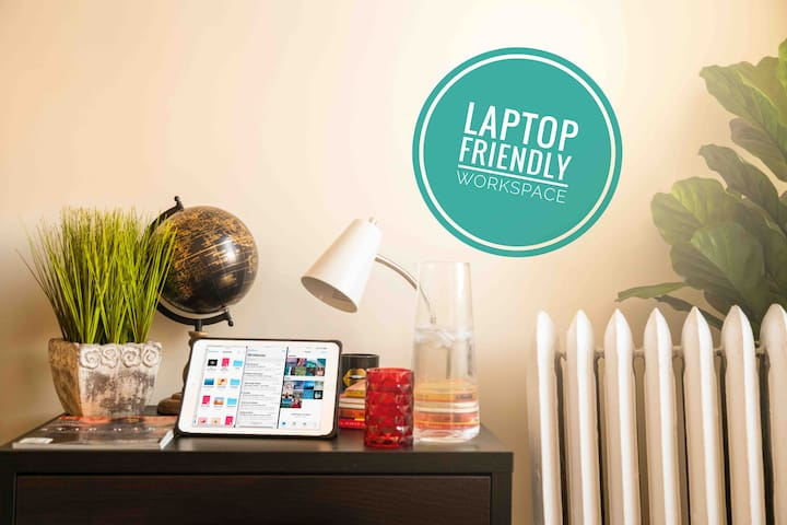 Need to work from home? Read emails? Catch up on some reading? Laptop and work friendly space in very spacious and private room.