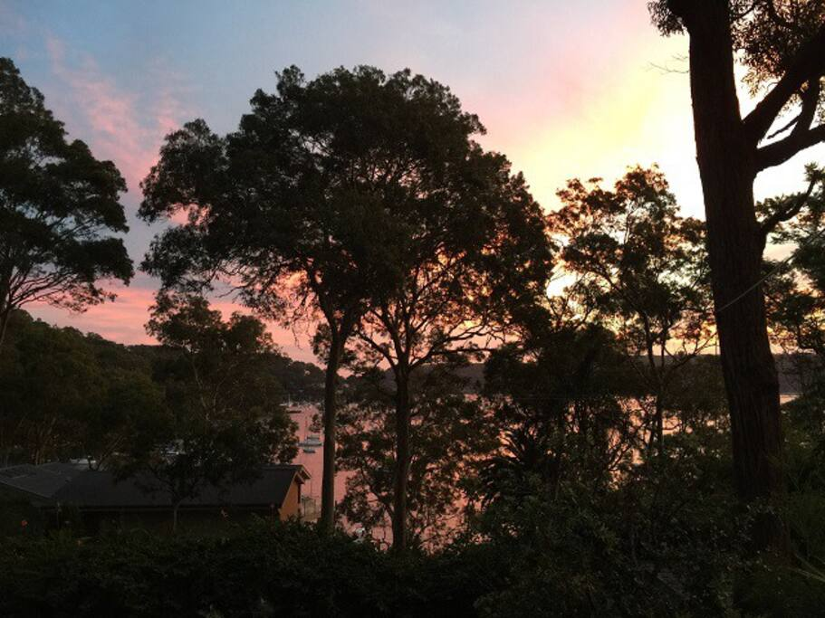 Sunset from deck overlooking Pittwater