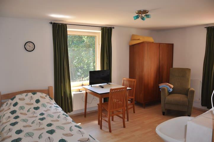 Gastenkamer met 2 eenpersoons bedden.