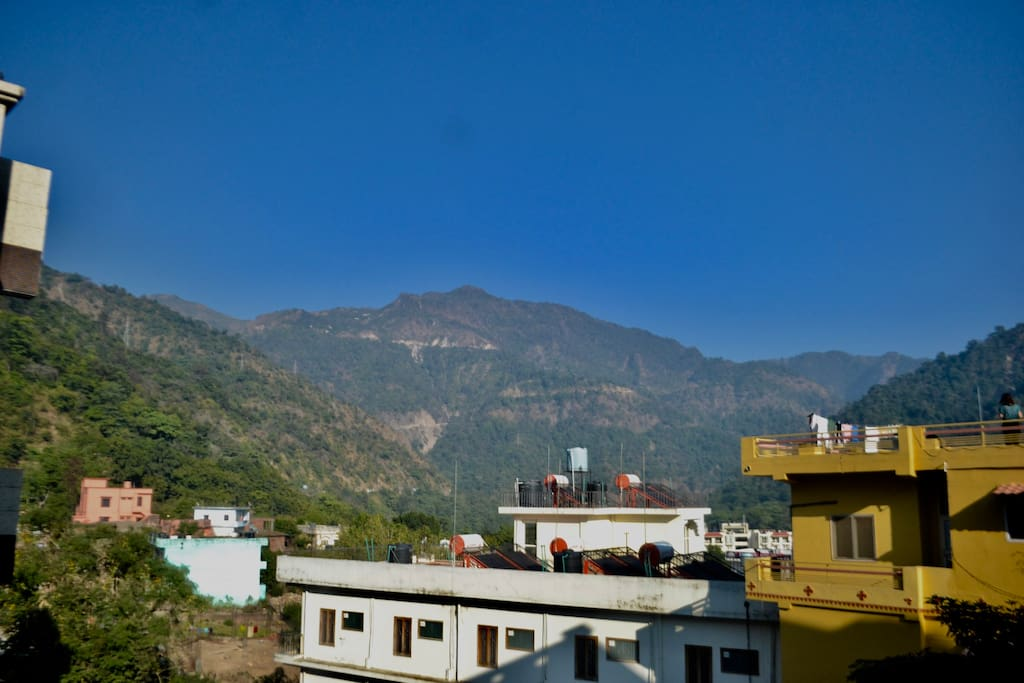View of the Himalayas from the balcony.