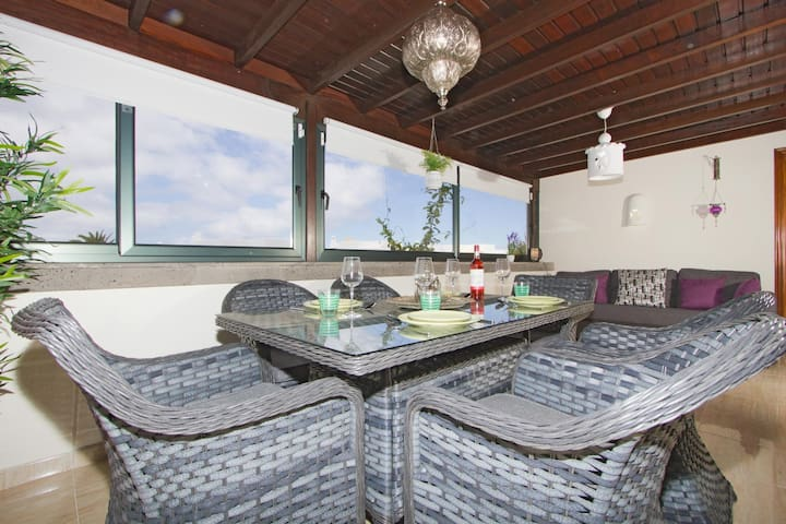 Covered alfresco dining area