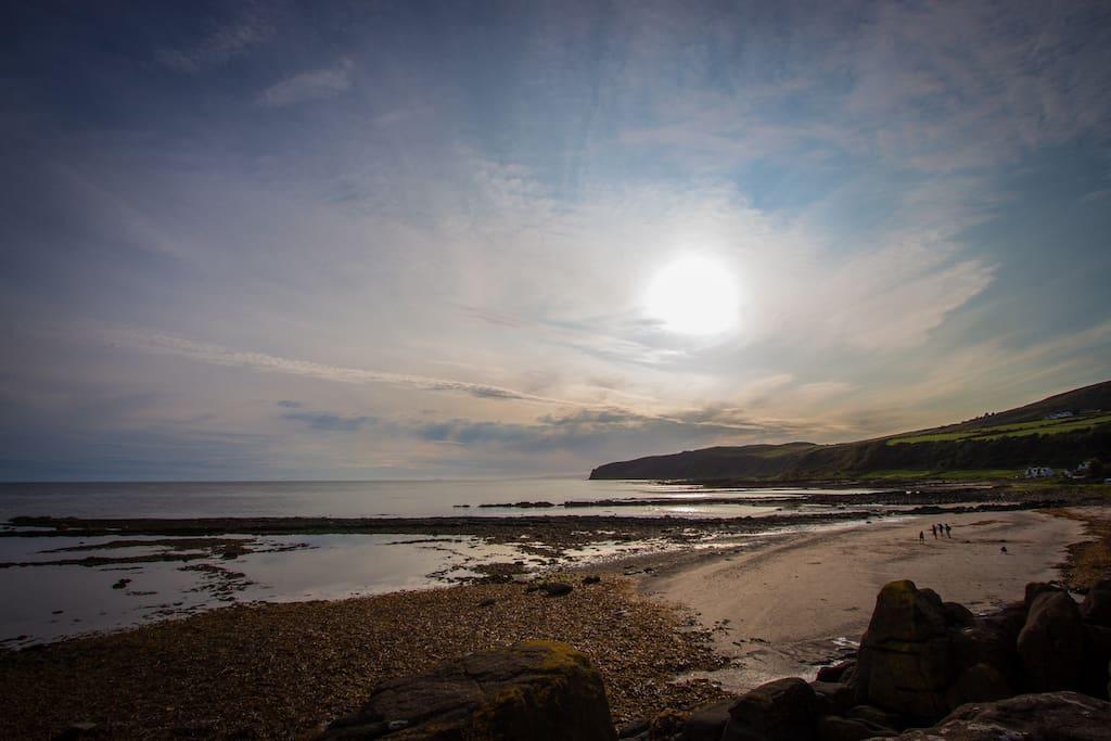 Kildonan beach at sunset (directly opposite Seamew)