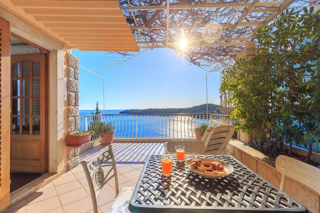 Terrace and sun lounger