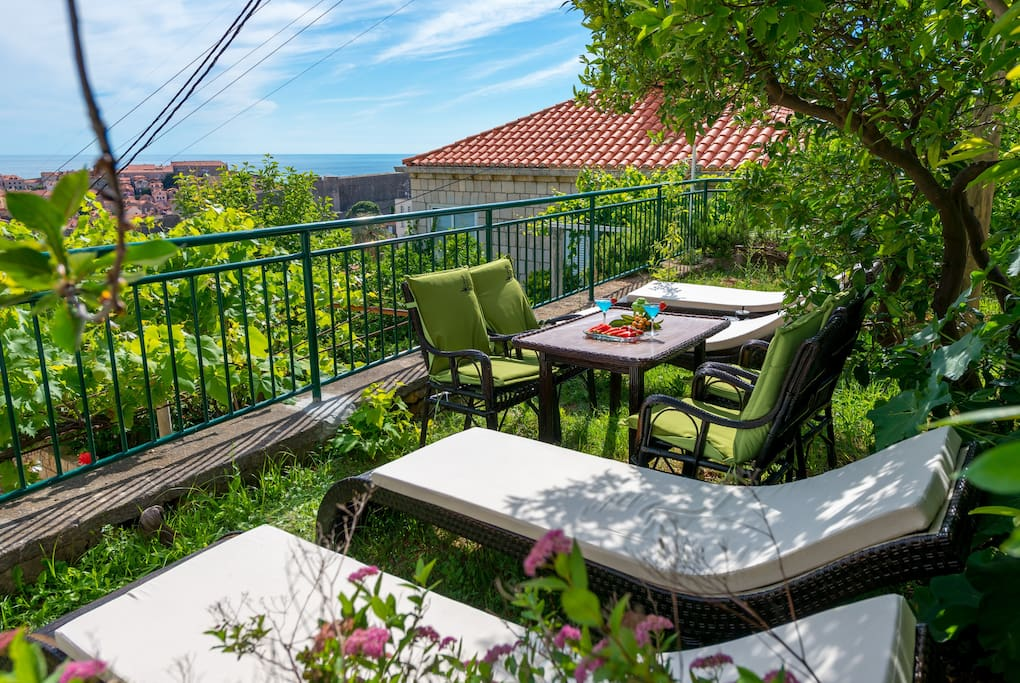 Welcome to Villa Magnolia, this is shared terrace of your two bedroom studio (shared only with one bedroom studio) boosting spectacular sea view over Adriatic Sea, Lokrum Island and UNESCO protected Dubrovnik Old Town.