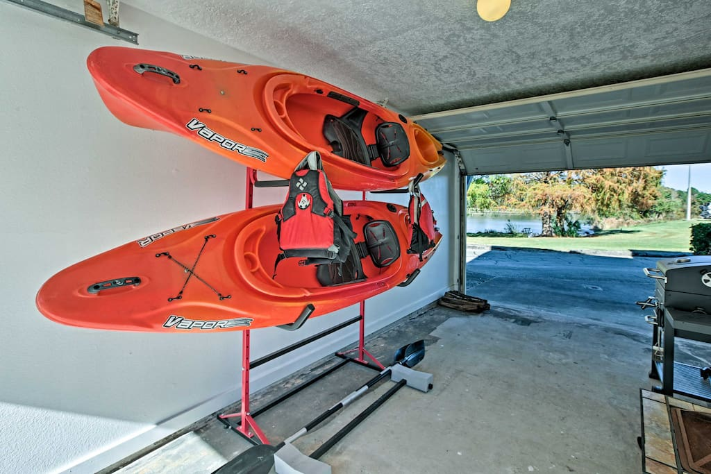Take one of the provided kayaks out on the water to explore the peaceful terrain