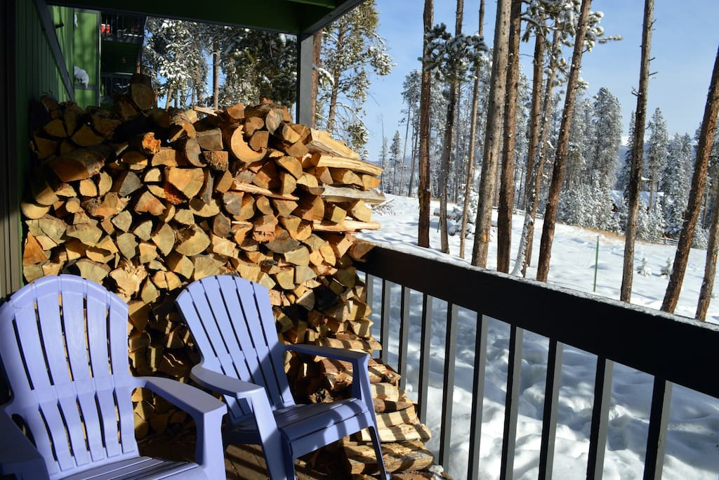 Back porch with plenty of firewood!