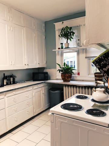 Guests have access to entire kitchen stocked with cooking utensils, pots & pans, fridge.