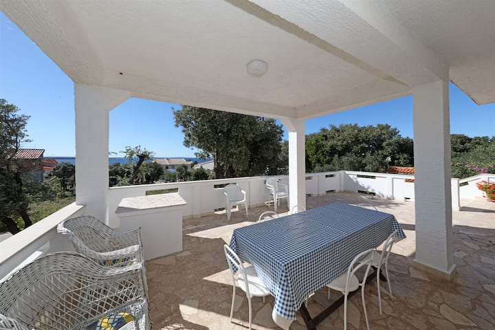 Two Bedroom Apartment, 250m from city center, seaside in Mandre - island Pag, Terrace