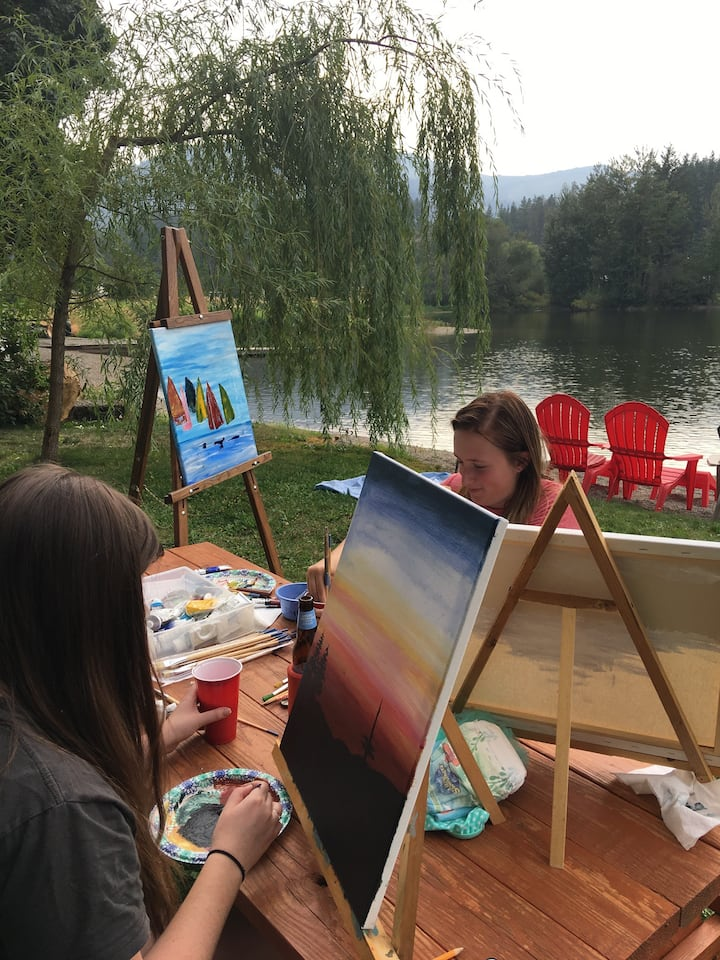 Painting at the waters  edge. Heaven!