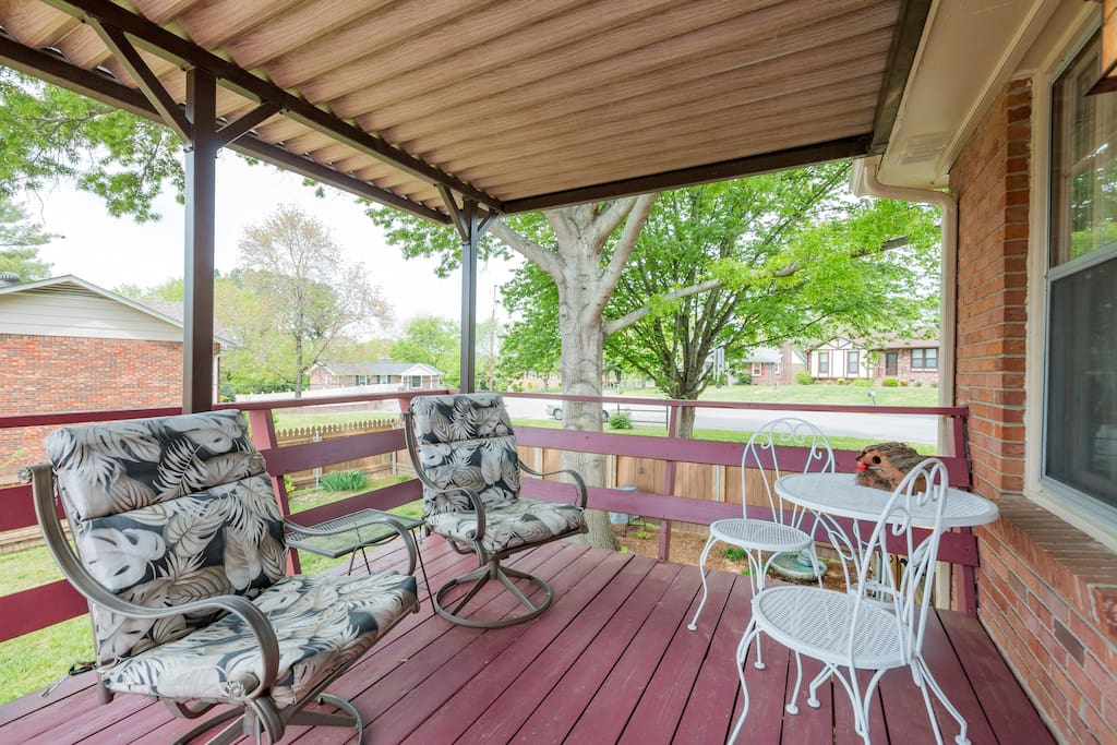 Enjoy the covered deck on the main level.  A great place for breakfast in the morning, or relaxing with a cup of coffee.