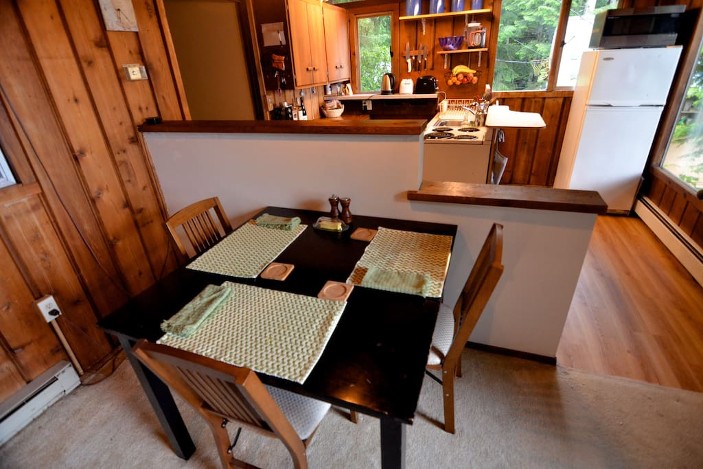 Dining area with available seating for four