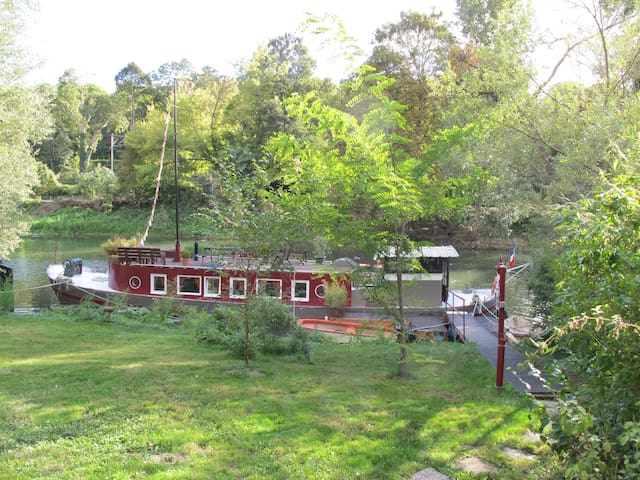 Barge with garden, kayak, bikes, private island - Poissy