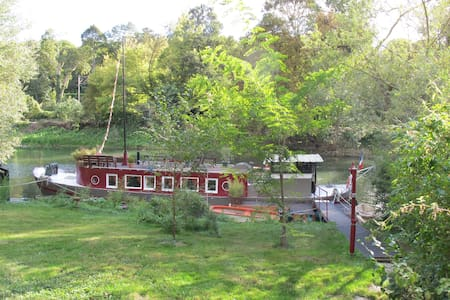 Barge with garden, kayak, bikes, private island - Poissy - เรือ