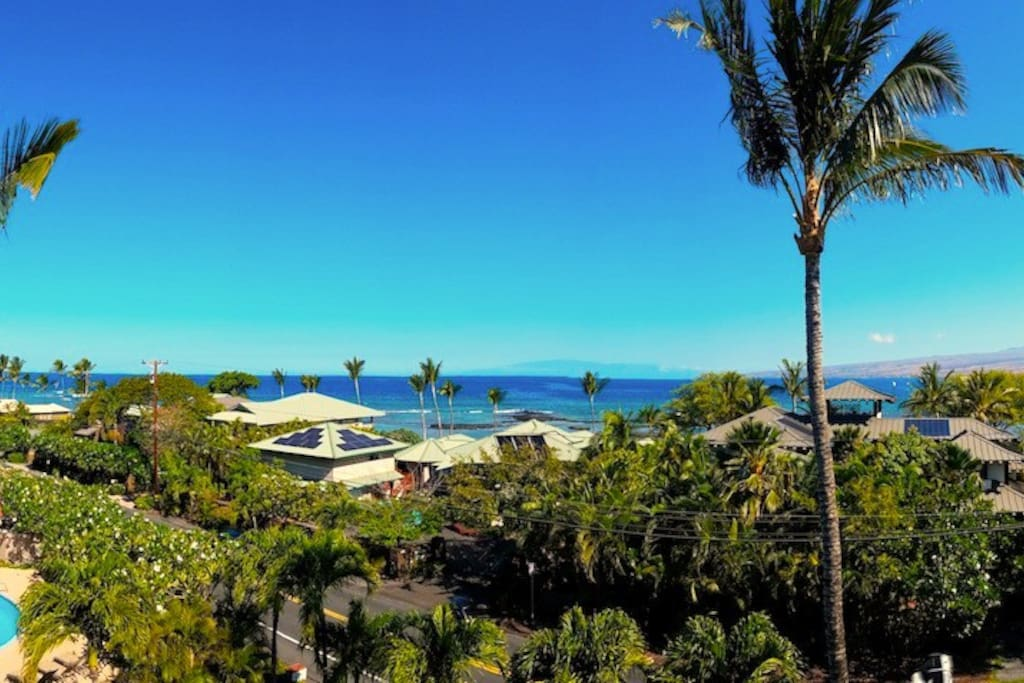 View from the front Lanai, where you can see Haleakala off in the distance.  Ocean views, sunshine, palm trees, and sweet singing birds while you plan your adventures for the day!
