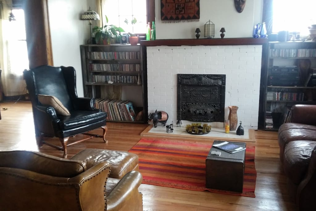 View into living room from entry.  Lots of jams!