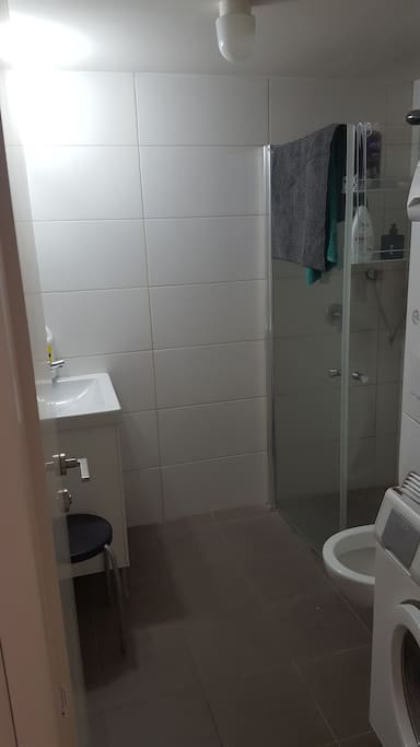 The bathroom that is attached to the study room. Has a laundry machine and a drier machine.