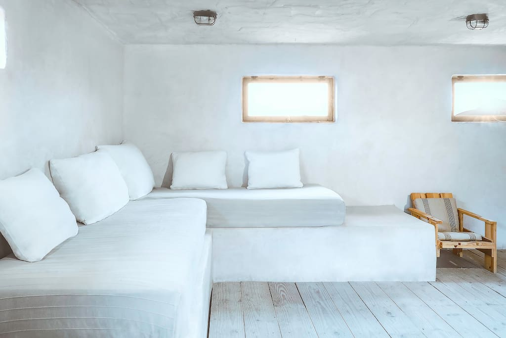 Living area with 2 extra sofa beds.