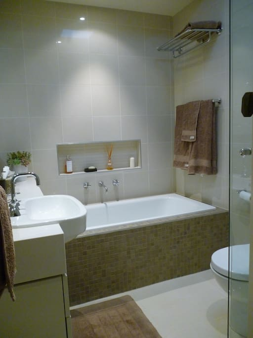 New and modern bathroom, full size bath and shower