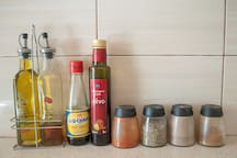 Olive oil, vinigars and spices for you to cook delicious meals!