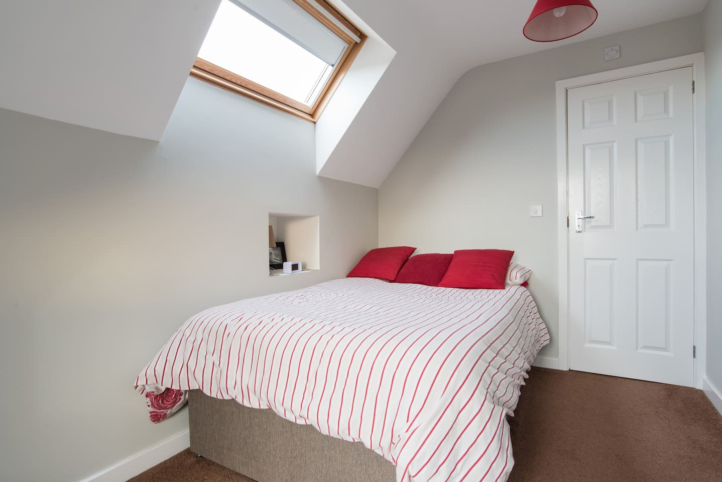 The skylight makes the room light and airy but don't worry the sun won't wake you as a blackout blind is fitted to the window!