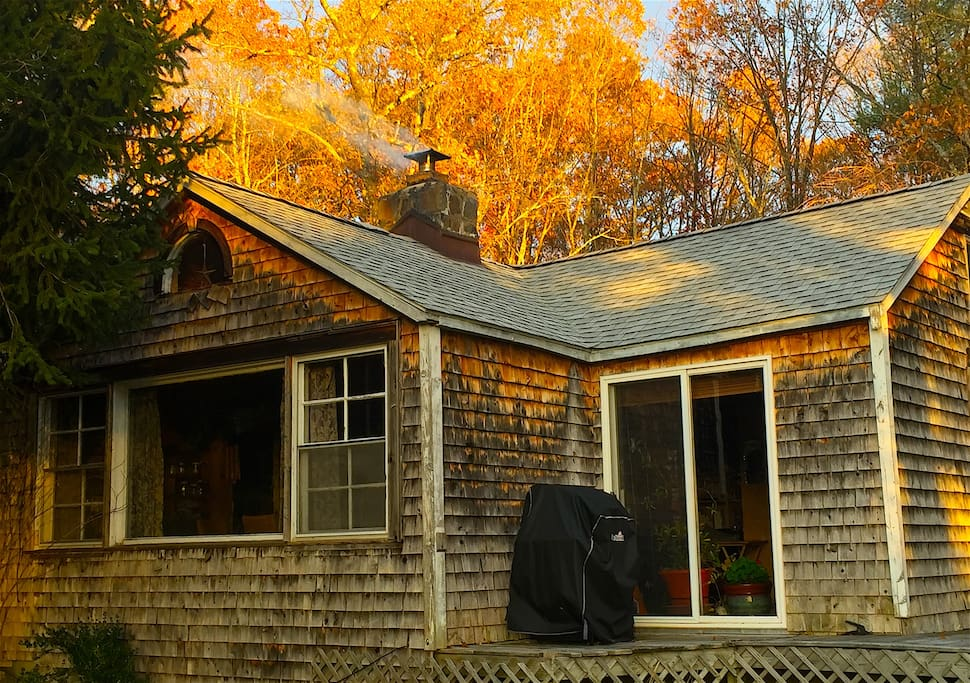 House with smoke from the firewood stove coming out of the chimney...a gorgeous Autumn day!