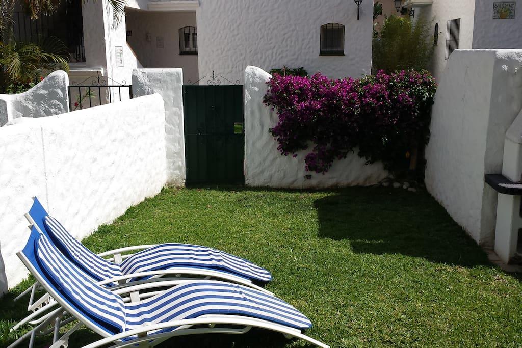 Private garden and brick BBQ