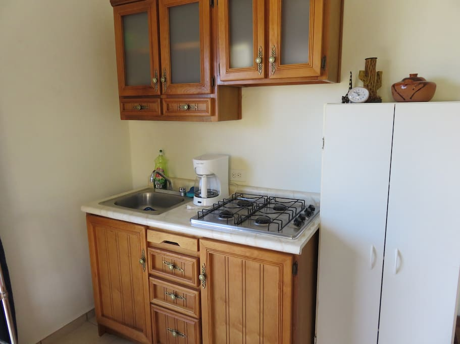 Cupboards and pantry with ample dishes, bowls, utensils and pots and pans. 4 burner gas stove.