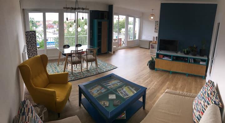 Appartement spacieux avec balcon, idéal weekend