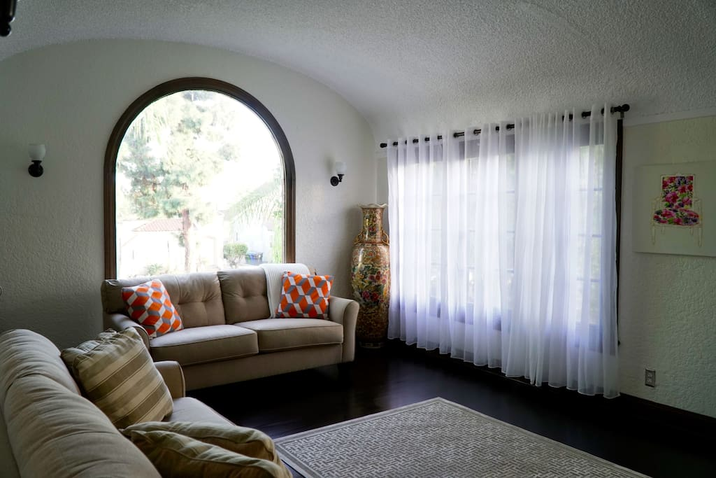 Living Room - large arched window
