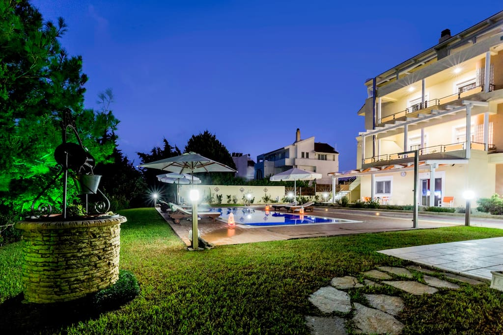 Night view Pool with Villa