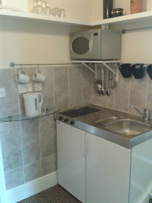 Compact kitchenette with sink, ceramic hob, microwave oven, kettle and toaster.