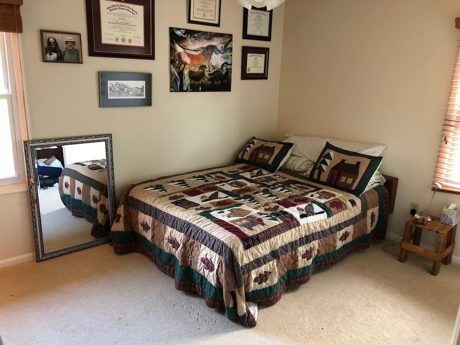 The bedroom - queen sized bed.