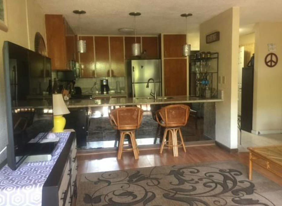 Large Kitchen and Living Room with 55' TV.