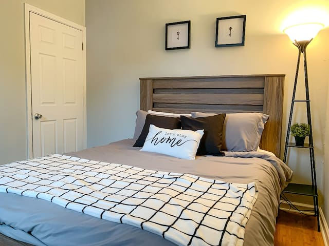 Plush queen-size mattress and fresh linens. Revitalize with a restful night's sleep in this cute and homey apartment.