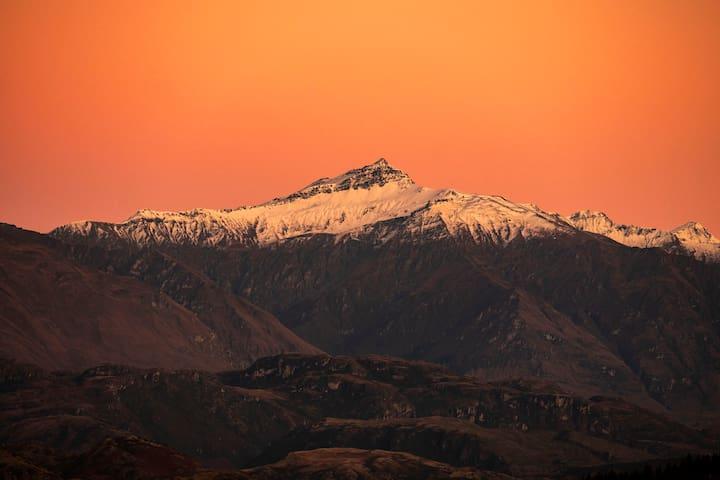 Deck view of Black Peak at sunrise!