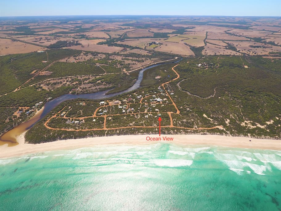 Aerial view depicting location of Ocean View (Harriet River on left)