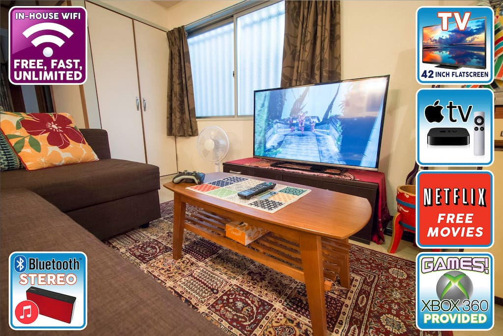 42 inch Panasonic flatscreen television, Netflix for a huge free entertainment library, fast internet, Xbox for games, all the modcons your little hearts could desire!