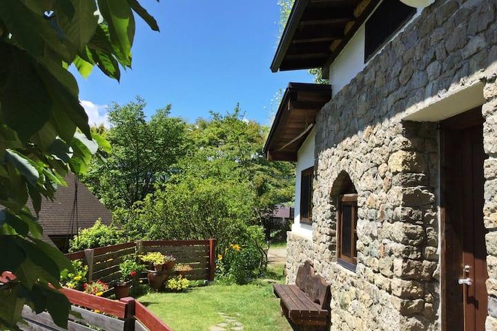 美ヶ原麓・四季を彩るお庭に囲まれた、草屋根と自然石の「石積みの家」