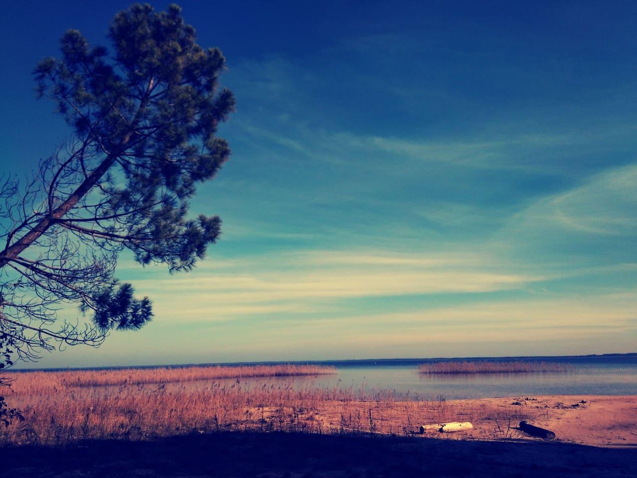 Vue sur le lac de la plage privative du domaine. 5 minutes à pieds de la maison.