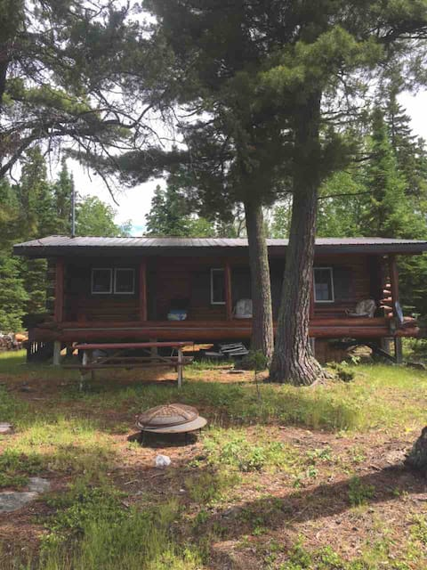 Log cabin rental on a piece of island property
