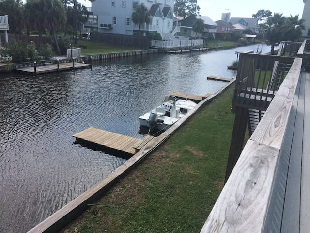 View from the deck in front of our unit down the canal...