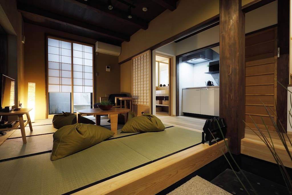 Downstairs lounge area, on traditional tatami mats.