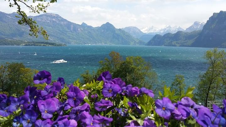 Burghaus mit fantastischer See-und Bergsicht