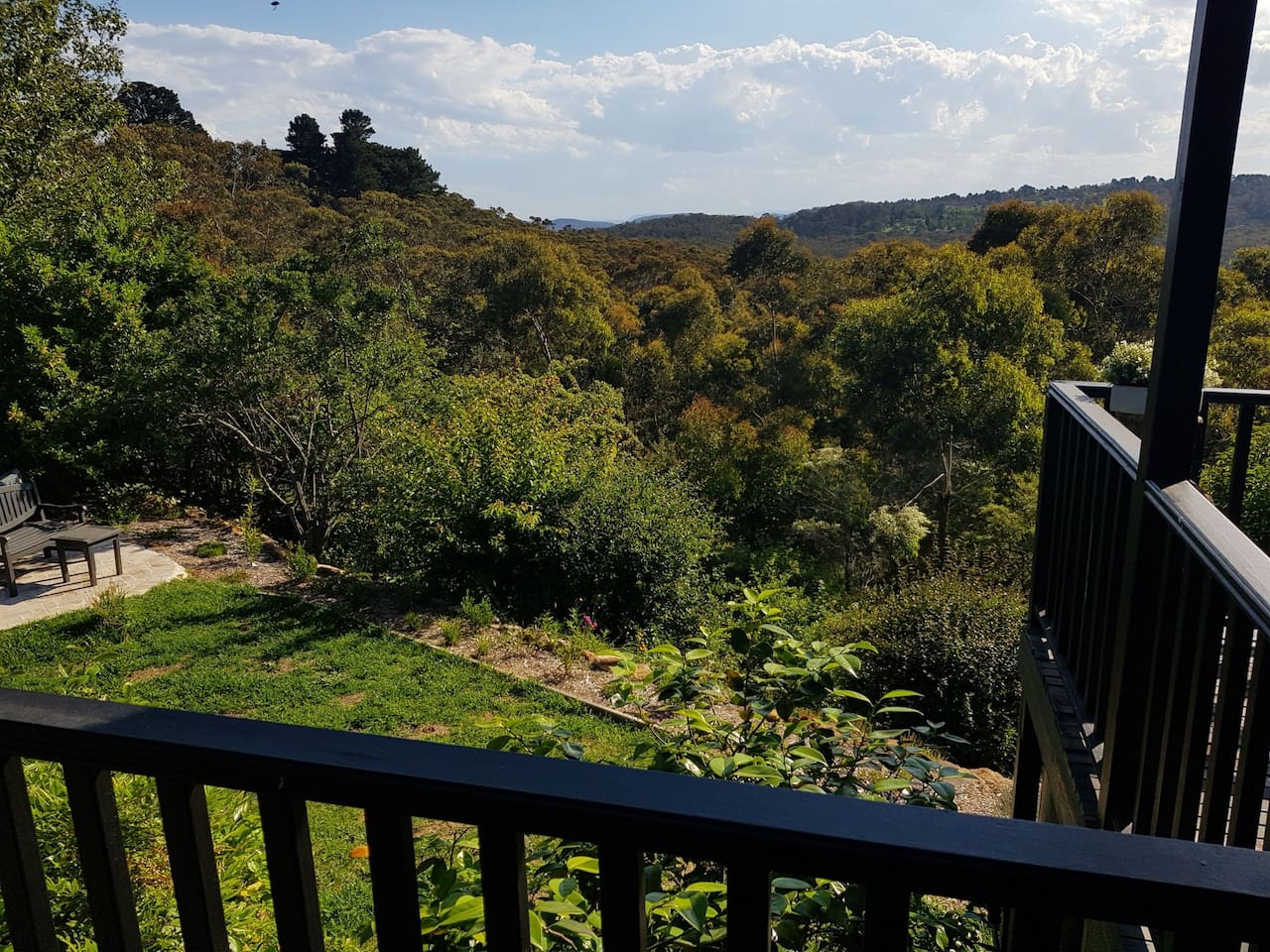View of from back verandah of back yard which backs onto national park