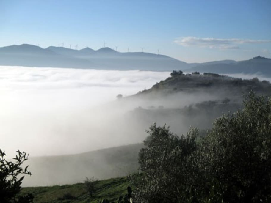 Fog over the valley from the terrazza
