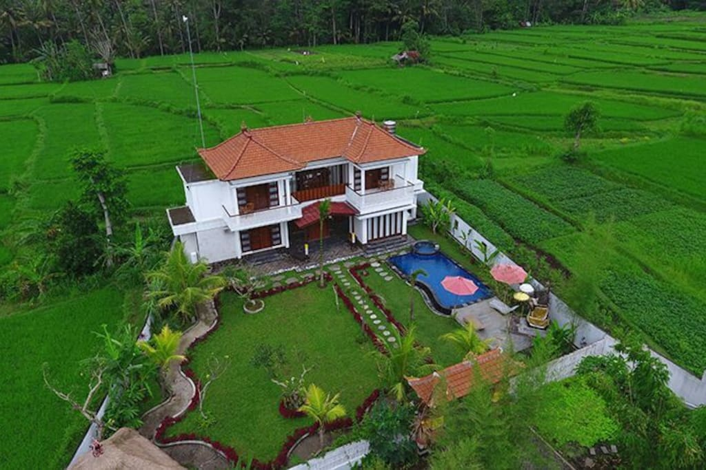 Bird eye view of villa Shanti Padma