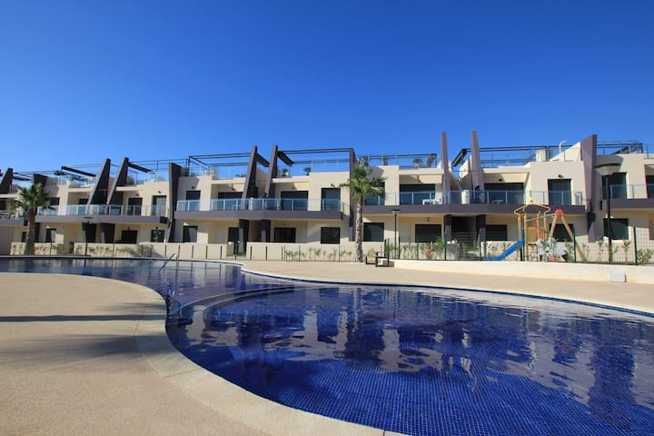 Pool view at Mil Palmeras' best holiday complex