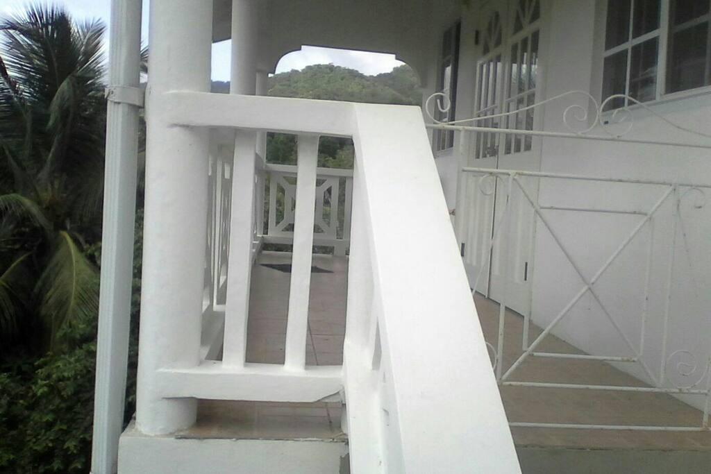 Balcony and entrance.