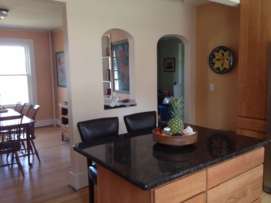 View from kitchen into dining room.