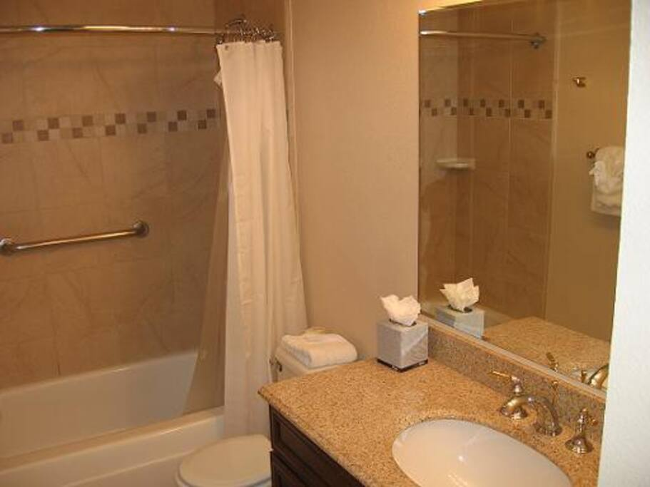 Spacious bathroom with heater